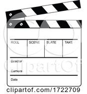 Movie Clapperboard Clapper Clapboard Cue Card Clacker Slate Board Or Slapperboard Retro Black And White