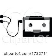 Vintage Portable Cassette Player Stencil Black And White Retro