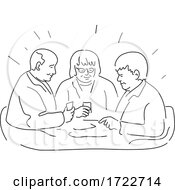 Poster, Art Print Of Group Of Elderly Or Senior Patients In Residential Care Facility Playing Cards Monoline Style