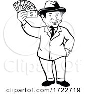 Vintage Businessman With A Wad Of Dollar Bill Notes Or Money Cartoon Black And White