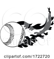 Baseball Or Softball Ball On Fire With Fiery Flames Stencil Black And White Retro