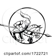 Medieval Knight With Lance Riding Steed Side Retro Black And White