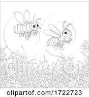 Poster, Art Print Of Bees Over Flowers