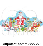 Santa Surrounded By Toys