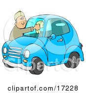 Caucasian Man Leaning Over The Hood Of His Cute Blue Compact Car To Clean The Bug Guts Off Of His Dirty Windshield While Stopped At A Gas Station