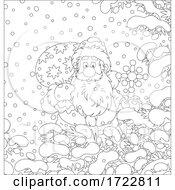 Santa Trekking Through Snow