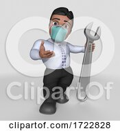 Poster, Art Print Of 3d Business Man In Face Mask On A Shaded Background