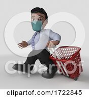 3D Business Man In Face Mask On A Shaded Background