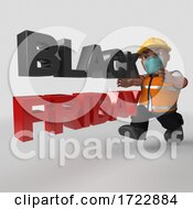 Poster, Art Print Of 3d Contractor In Face Mask On A Shaded Background