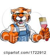 Poster, Art Print Of Tiger Painter Decorator Holding Paintbrush