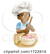 Poster, Art Print Of Black Boy Cartoon Child Chef Cook Baker Kid