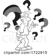 Cartoon Puzzled Indecisive Or Uncertain Guy With Question Marks