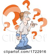 Cartoon Puzzled Indecisive Or Uncertain Man With Question Marks