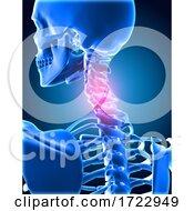 3D Medical Background Of Skeletong With Neck Bones Highlighted