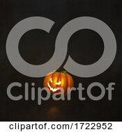 3D Halloween Background With Pumpkin In Grunge Interior