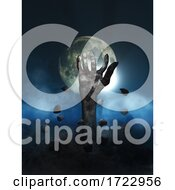 3D Halloween Background With Zombie Hand Erupting Out Of The Ground