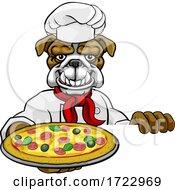 Poster, Art Print Of Bulldog Pizza Chef Cartoon Restaurant Mascot Sign