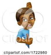 Poster, Art Print Of Black Boy Cartoon Child Kid Thumbs Up Sign