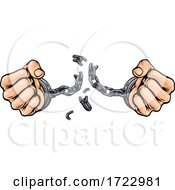 Hands Breaking Chain Shackles Cuffs Freedom Design