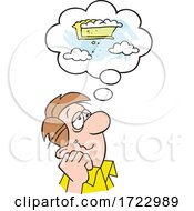 Cartoon Guy Daydreaming Of Pie In The Sky