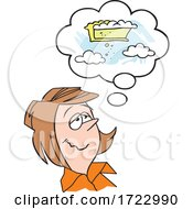 Cartoon Lady Daydreaming Of Pie In The Sky