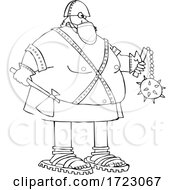Cartoon Chubby Executioner Wearing A Mask And Holding An Axe And Flail