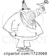 Businessman Wearing A Party Hat And Mask And Toasting