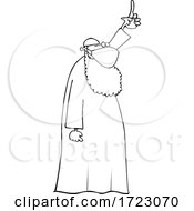 Cartoon Muslim Cleric Wearing A Mask And Holding Up A Finger