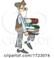 Geeky Man Wearing A Mask And Supporting A Stack Of Books On His Knee