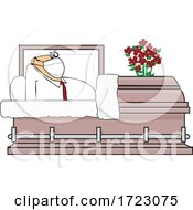 Cartoon Shocked Man Wearing A Mask And Rising In A Casket