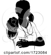 Woman Doctor Or Nurse Scrubs Pointing Silhouette by AtStockIllustration