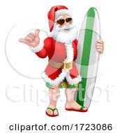 Santa Surf Shaka Shades Surfboard Cartoon