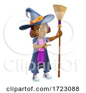 Black Girl Cartoon Child Halloween Witch Pointing