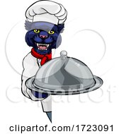 Panther Chef Mascot Sign Cartoon Character