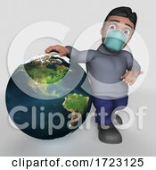 Poster, Art Print Of 3d Hispanic Man Wearing A Mask On A Shaded Background