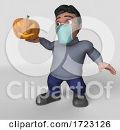 3D Hispanic Man Wearing A Mask On A Shaded Background