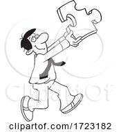 Cartoon Black And White Man Holding A Solution Puzzle Piece