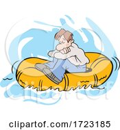 Cartoon Lost Man Adrift On A Raft
