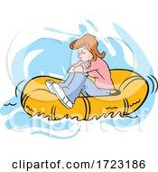 Cartoon Lost Woman Adrift On A Raft