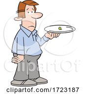 Cartoon Dieting Man Holding A Pea On A Plate