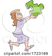 Cartoon Business Woman Holding A Solution Puzzle Piece