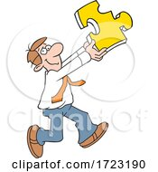 Cartoon Business Man Holding A Solution Puzzle Piece