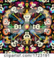 Skull And Skeleton Mexican Seamless Pattern