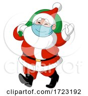 Cartoon Jolly Santa Wearing A Covid Mask by yayayoyo