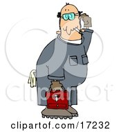Confused Male Caucasian Mechanic In Blue Coverals Carrying A Red Toolbox And Scratching His Head Clip Art Illustration by Dennis Cox