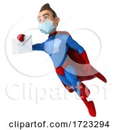 3d Male Blue And Red Super Hero Wearing A Mask On A White Background