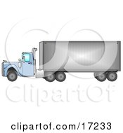 Big Blue 18 Wheeler Semi Truck Driving Down The Road From Right To Left Clip Art Illustration