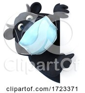 3d Black Bull Wearing A Mask On A White Background