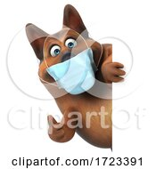 3d German Shepherd Dog Wearing A Mask On A White Background