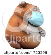 3d Bulldog Wearing A Mask On A White Background